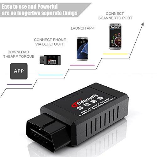OBDII Bluetooth OBDBOUTIK OD132 Check Engine Light Diagnostic Code Reader  OBD2 ELM327 Bluetooth Car Diagnostic Tool