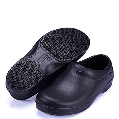 Slip Resistant Safety Work Shoes Unisex Professional Clog Black for Chef (M=10B (M) Women/8D (M) Men, Black) ()