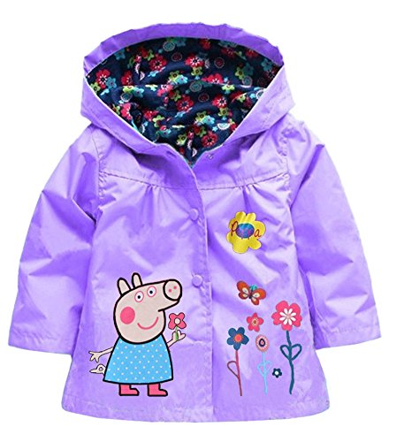 Windbreaker Printed Children Pig Peppa Lemonkids® Cute Jacket Purple Girls Hooded Raincoat fxtqqXw