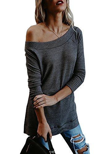 Beautife Womens Sweaters Off Shoulder Casual Oversized Long Sleeve Knit Pullovers Tunic Tops Grey