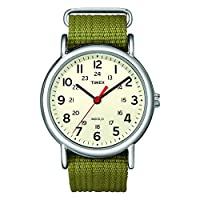 Reloj Timex Unisex T2N651 Weekender con correa corrediza de nylon verde oliva