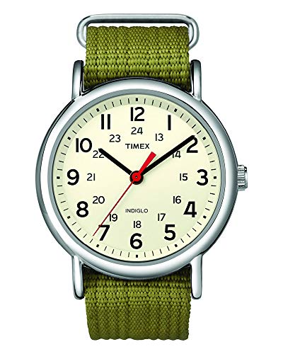Timex Unisex T2N651 Weekender 38mm Olive Nylon Slip-Thru Strap Watch (Watch Timex Women)
