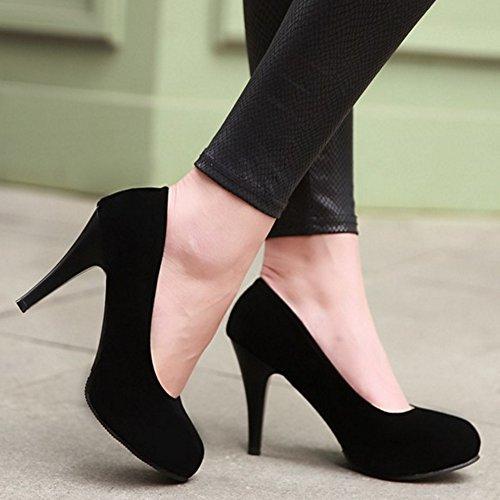 COOLCEPT Mujer Moda sin Cordones Boca Baja Zapatos Elegante Tacon de Aguja Fiesta Zapatos Negro