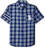 KLEW MLB Los Angeles Dodgers Wordmark Flannel Short Sleeve Button-Up Shirt