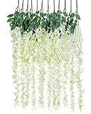 Luyue 3.18 Feet Artificial Silk Wisteria Vine Ratta Silk Hanging Flower Wedding Decor,6 Pieces,(Off-White)