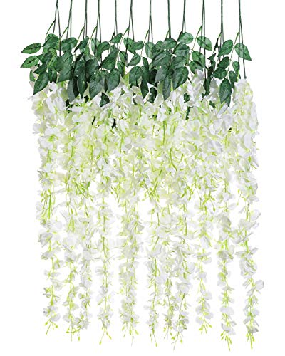Shabby Chic Wedding - Luyue 3.18 Feet Artificial Silk Wisteria Vine Ratta Silk Hanging Flower Wedding Decor,6 Pieces,(Off-White)