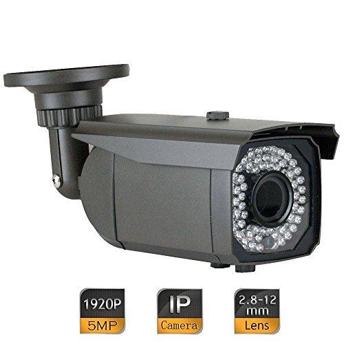 GW Security 5 Megapixel 2592 x 1920 Pixel HD 1920P Outdoor Network PoE Power Over Ethernet 1080P Security IP Camera with 2.8-12mm Varifocal Zoom Len, 64-IR LED 180FT IR Distance