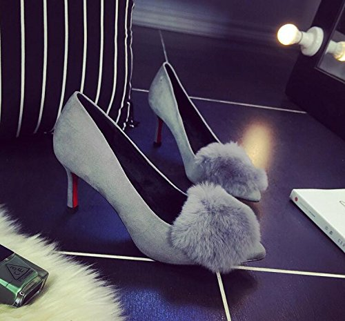 HGTYU-The New Female High Heeled Shoes Head Plush Tip Women Shoes Professional Quality Female Grey 1kD21