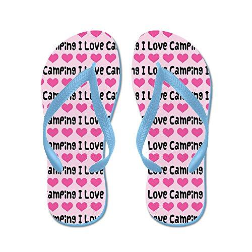 Cafepress I Love Camping - Chanclas, Sandalias Thong Divertidas, Sandalias De Playa Caribbean Blue