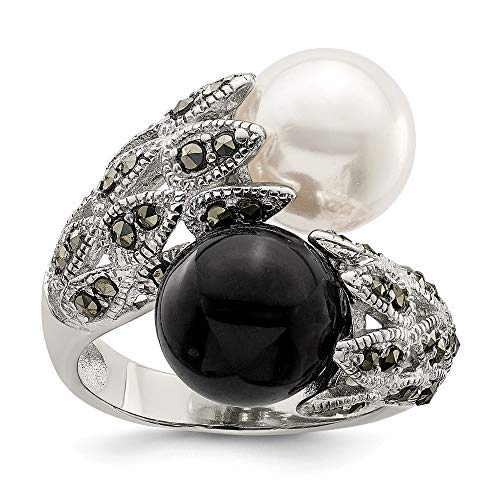 925 Sterling Silver Marcasite Black White Plastic Simulated Pearl Band Ring Size 8.00 Fine Jewelry Gifts For Women For Her