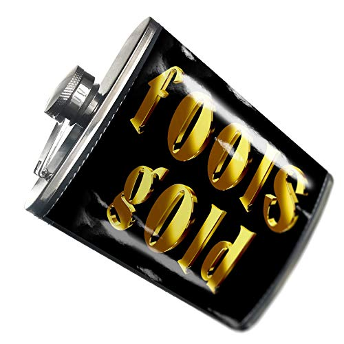 NEONBLOND Flask Fools Gold Printed Gold looking Lettering Hip Flask PU Leather Stainless Steel Wrapped