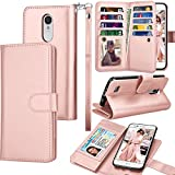 Tekcoo Compatible for LG Fortune/Phoenix 3 / LG Aristo/Risio 2 / LG Rebel 2 LTE /LV3 Wallet Case, Credit Card Slots Carrying PU Leather Folio Flip Cover [Detachable Magnetic Case] Stand -Rose Gold