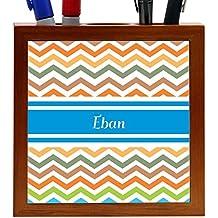"""Rikki Knight """"Eban"""" Blue Chevron Name Design 5-Inch Wooden Tile Pen Holder (RK-PH4375)"""