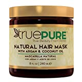 TruePure Natural Hair Mask With Argan Oil, Coconut Oil, Jojoba & Saw Palmetto   Deep Conditioner For Men & Women With Dry, Damaged or Color Treated Hair   Fragrance-Free Hair Repair Treatment, 8oz