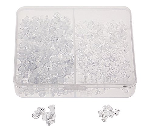 - Shapenty 400PCS/200Pairs Clear Color Plastic Rubber Clutch Earring Safety Back Stopper Replacement Set for Fish Hook Earring, 2 Styles, Bullet & Tube Shape
