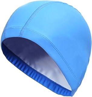 UxradG Schwimmkappe mit schützender PU-Beschichtung, wasserfest, schützt Ohren, langes Haar, Schwimmkappe für Erwachsene - Damen und Herren