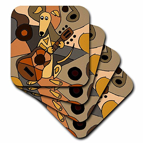 - 3dRose All Smiles Art Dogs - Funny Greyhound Dog Playing Guitar Abstract Art - set of 4 Ceramic Tile Coasters (cst_224775_3)