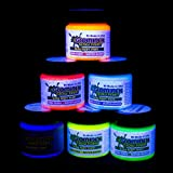 Glominex AH921 6pcs, 1oz, Glow in the Dark Body and Face Paint, Glow Paint, Glow In The Dark Body Paint, Glow In The Dark Party Supplies - Assorted