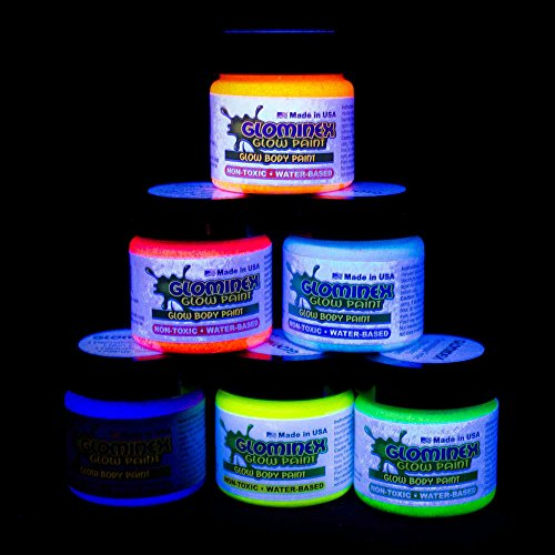 Glominex AH921 6pcs, 1oz, Glow in the Dark Body and Face Paint, Glow Paint, Glow In The Dark Body Paint, Glow In The Dark Party Supplies - Assorted ()