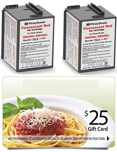 (WCI© Best Value Pack®) Contains (2) Genuine Original Pitney Bowes 765-9 Fluorescent Red Ink Cartridges + a FREE $25 Restaurant Gift Card. by Genuine Original Pitney Bowes Brand
