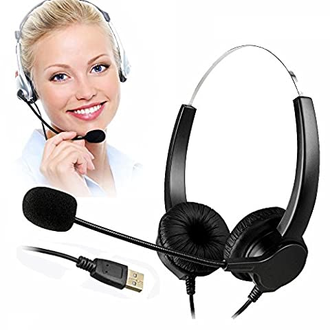 TelPal Corded Hands-free Call Center Noise Cancelling Corded Binaural Headset Headphone with Mic Mircrophone - Cord with USB Plug, Volume (Usb Headset Noise Cancelling)