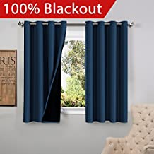 FlamingoP Full Blackout Navy Curtains Faux Silk Satin with Black Liner Thermal Insulated Window Treatment Panels, Grommet Top (52 x 63 Inch, Set of 2)