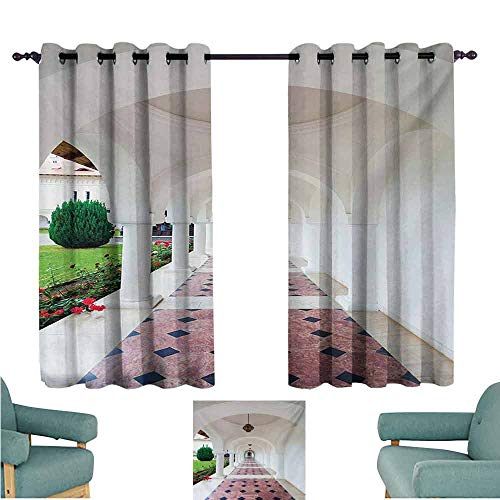DONEECKL Kids Room Curtains Travel Dome Arched Colonnade Hallway at Sambata De Sus Monastery in Transylvania Romania Light Blocking Drapes with Liner W55 xL63 White Green