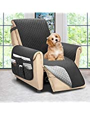 ASHLEYRIVER Recliner Chair Cover,Recliner Slipcover, Recliner Covers for Dogs,Recliner Slipcover,Recliner Protector(Recliner Medium:Dark Grey/Grey)