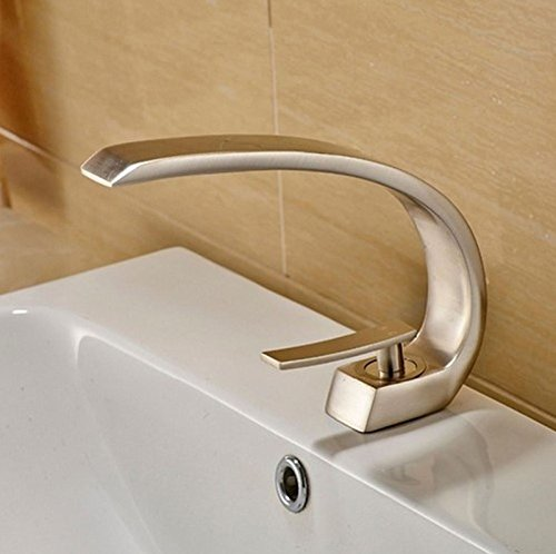 Deck Mounted Brushed Nickle Basin Faucet Bathroom Vanity Sink Tap Hot&Cold ()