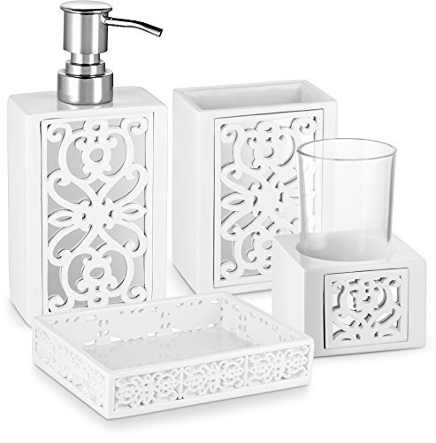Dwellza Mirror Janette Bathroom Accessories Set, 4 Piece Bath Ensemble, Bath Set Collection Features Soap Dispenser Pump, Toothbrush Holder, Tumbler, Soap Dish- White by Dwellza