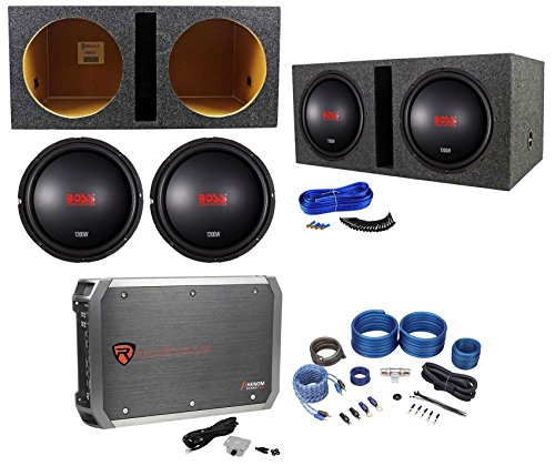 (2) Boss Audio CXX124DVC 12″ 2400w Subwoofers+Vented Box+Mono Amplifier+Amp Kit