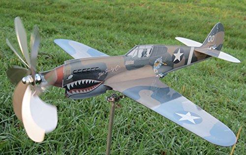 maxflite.de P-40 Kittyhawk Airplane Wind Wheel/Spinner; Propeller Turns When Wind; Stainless Steel
