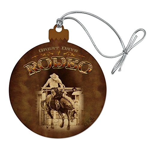 GRAPHICS & MORE Cowboy Western Rodeo Vintage Horse Bucking Riding Wood Christmas Tree Holiday Ornament]()