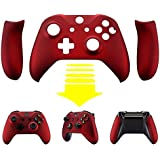 eXtremeRate Red Soft Touch Faceplate Cover, Front Housing Shell,Soft Grip Back Panels for Microsoft Xbox One X & One S Controller