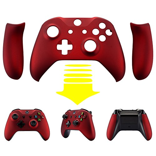 eXtremeRate Red Soft Touch Faceplate Cover, Front Housing Shell,Soft Grip Back Panels for Microsoft Xbox One X & One S ()