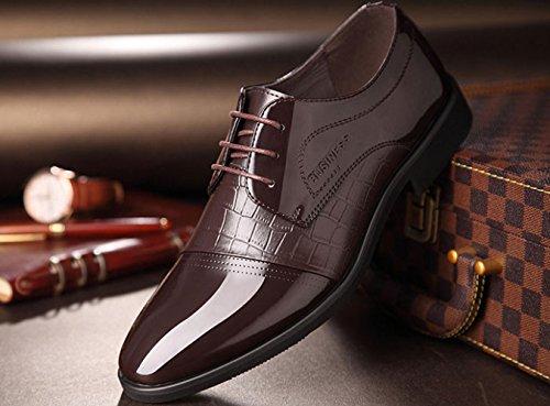 LEDLFIE Chaussures D'affaires pour Hommes Chaussures pour Hommes Chaussures De Mode en Dentelle Chaussures De Mariage Brown uXmXnnT