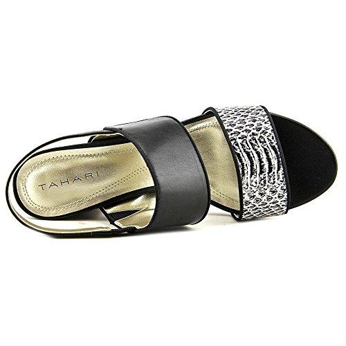 Snake Black White Mujeres Tahari Black Leather Talla Piso Sandalias de OAqwq6xz
