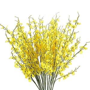 MaxFox Artificial Flowers Long Stem Oncidium Orchid Phalaenopsis Simulation Flowers For Wedding Dinning Decor In Vase (Yellow) 95