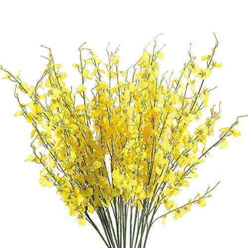 MaxFox Artificial Flowers Long Stem Oncidium Orchid Phalaenopsis Simulation Flowers For Wedding Dinning Decor In Vase (Yellow)