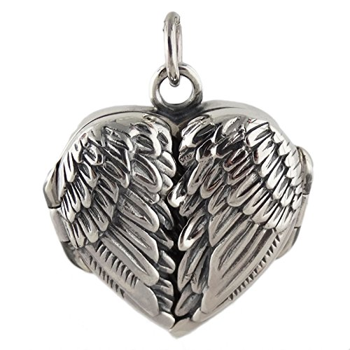 [Sterling Silver Angel Wings Locket Pendant] (Angel Locket)