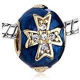 Roy Lopez Blue Celtic Cross Bracelet Charm