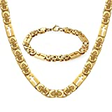 WESTMIAJW Solid 18K Yellow Gold Filled Over Stainless Steel Chain Necklace Byzantine Bracelet Set,24""