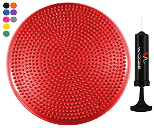 Wacces Inflatable Stability Balance Disc with Smart Pump, ( Red )