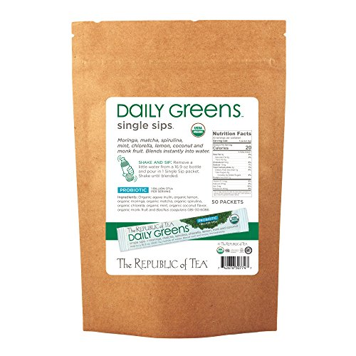 The Republic Of Tea Daily Greens Single Sips, 50 Single Sips