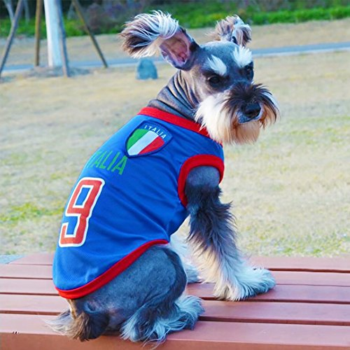 Yizhi Miaow Dog Soccer Jersey World Cup Pet T-Shirt-Dog Costume to Celebrate The Russia 2018 FIFA Italia Team Dog/Cat Shirt Jerseys Size L for Small Dogs Schnauzer]()