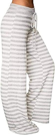 Memories Love Womens High Waisted Yoga Trousers Stripe Fashion Wide Leg Pants
