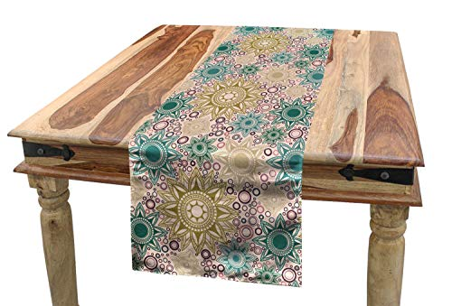 "Ambesonne Mandala Table Runner, Oriental Floral Pattern with Circles Background Middle Inspirations, Dining Room Kitchen Rectangular Runner, 16"" X 90"", Tan Teal"