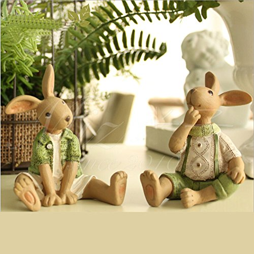 Set of 2 Resin Bunny Easter Decoration Vintage Rustic Country Bunnies Figurine Ornament Easter Decor Bunnies Rabbit Egg Figurine Rabbit Statue (Sitdown Female+Male Bunnies)