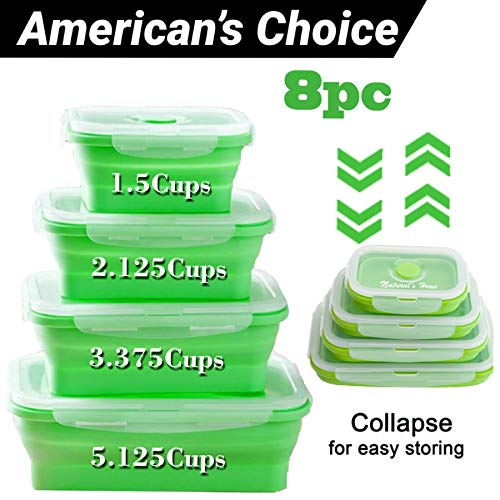 NATURALS HOUSE Collapsible - Reusable Insulated Food Preserving Storage Silicone Container 8pcs Airtight- BPA Free-FDA|Space Saver Bags