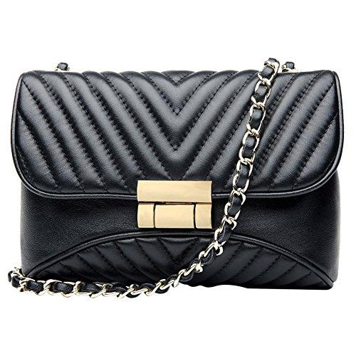 Sacs à main en cuir véritable pour les femmes embrayage de soirée en peau de vache petits sacs à bandoulière mignon téléphone sac 9536black